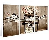Leinwandbild 3 Tlg. Fahrrad Retro Rad Blume Kunst Leinwand Bild Bilder auf Keilrahmen Holz - fertig gerahmt 9O910, 3 tlg BxH:120x80cm (3Stk 40x 80cm)
