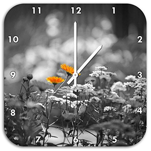 Belles fleurs de jardin sur fleur pré horloge murale noir / blanc, diamètre 48cm avec le blanc a les mains et le visage, des objets de décoration, Designuhr, composite aluminium très agréable pour salon, bureau