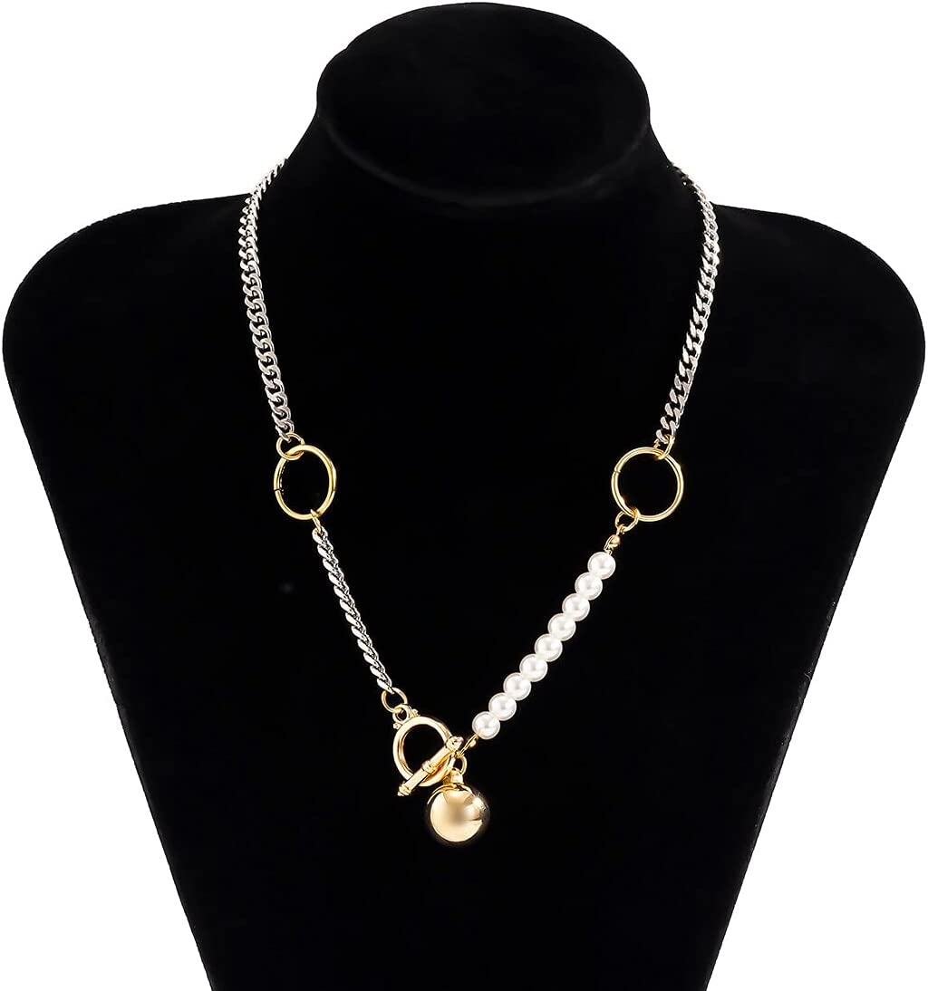 NMKIET SHIXIN Asymmetry Chain Pearl Choker Necklace Collar for Women Fashion Trendy Ball Pendant Necklaces on Neck Jewelry 2021 Collier (Metal Color: Asymmetry Chain)