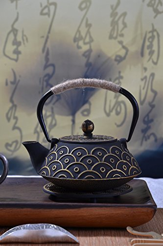 JUEQI 900 ML Old Dutch Cast Iron Teapot, Enamel Craft Tetsubin Japanese Cast Iron Tea Kettle with Stainless Steel Infuser Strainer, Enamel-Coated Interior Fish-scale Pattern