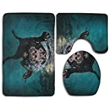 Funny Dogs Soft Comfort Flannel Washroom Mats,Anti-Skid Absorbent Toilet Seat Cover Bath Mat