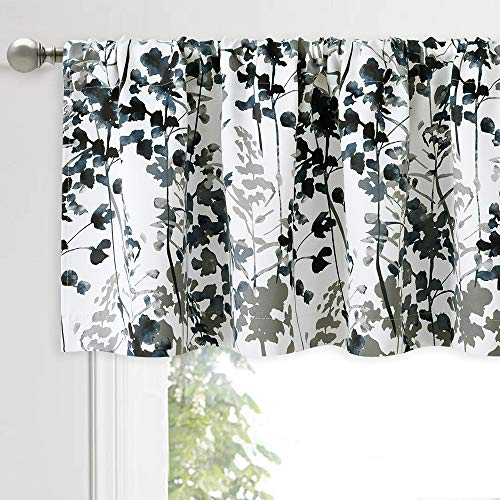 KGORGE Gray Curtains Valance Set - Modern Half Window Decorating Panels Thermal Insulated Drapes for Small Window Kitchen Cafe Tiers Watercolor Leaves Pattern, 1 Pair, W 52 x L 18 per Panel, Grey
