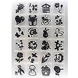 Moent Alphabet Transparent Silicone Clear Rubber Stamp Sheet Cling Scrapbooking DIY, Black Transparent Seal
