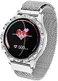 SHIJIAN Reloj inteligente de moda para mujer, impermeable, para deportes al aire libre, pulsera para iOS Andriod, regalos para hombres y mujeres-plata