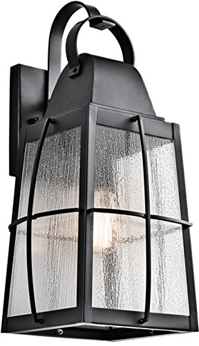 Kichler 49554BKT Tolerand Outdoor Wall Sconce, 1 Light Incandescent 150 Watts, Textured Black