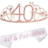 40th Birthday Gifts for Women, 40th Birthday Tiara and Sash, Happy 40th Birthday Party Supplies, 40 Fabulous Sash and Tiara Birthday Crown for 40th Birthday, 40th Birthday Decoration Party Supplies