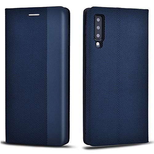 Aicoco Schutzhülle für Samsung Galaxy A7 2018 Leder Hülle Flip Case Handyhülle - Blau