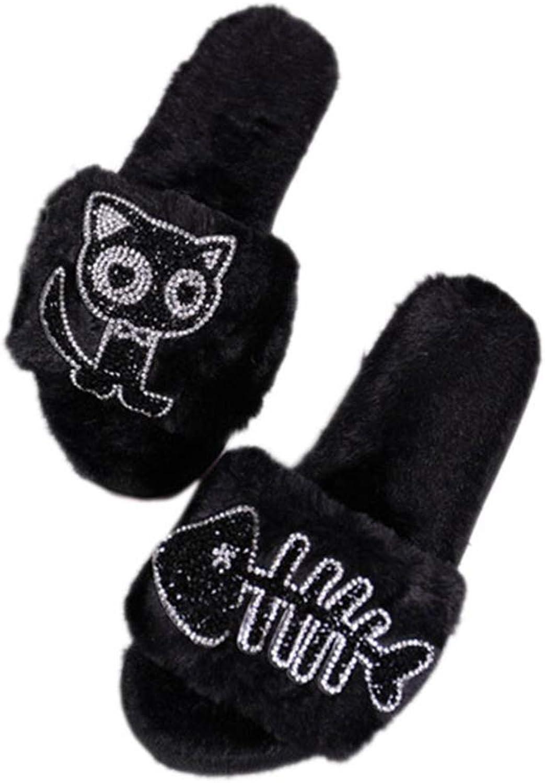 Winter Home Slippers Woman Flat Luxury Indoor Flip Flops Warm Soft Non-Slip Cartoon Cat Female Bedroom shoes