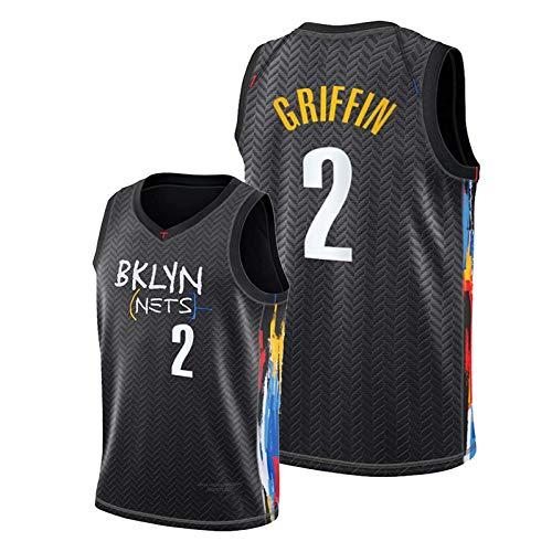 FRQQ Nets #2 Griffin Jersey para hombres, 2021 Nueva Temporada Redes Blanco Warcraft Juvenil Swingman Jerseys, Verano Transpirable Camisetas Deportivas S (55 ~ 65 kg)