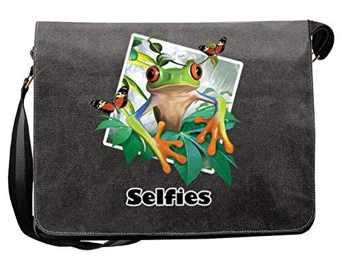 Canvas Tasche - lustiger Frosch Motiv - buntes Frosch Foto - Frosch-Selfie : Selfie Frosch - Umhängetasche/Schultertasche