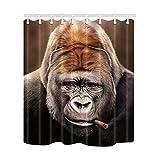 EGKXAKR Duschvorhang Tiere Duschvorhang Rauchen Gorilla Gedruckt Polyester Wasserdicht 3D Duschvorhang für Zuhause Badezimmer Dekor Bad Display