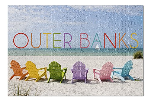 Outer Banks, North Carolina - Colorful Chairs (20x30 Premium 1000 Piece Jigsaw Puzzle, Made in USA!)