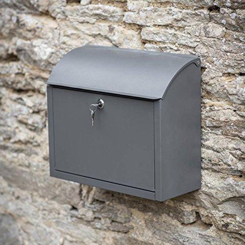 CKB Ltd® Post Box Wand montiert abschließbar Sichere Mail Aufbewahrung in Anthrazit Stahl groß Metall Outdoor Externe vintage| für große Briefumschläge und kleine Pakete 33x 38x 16,7cm