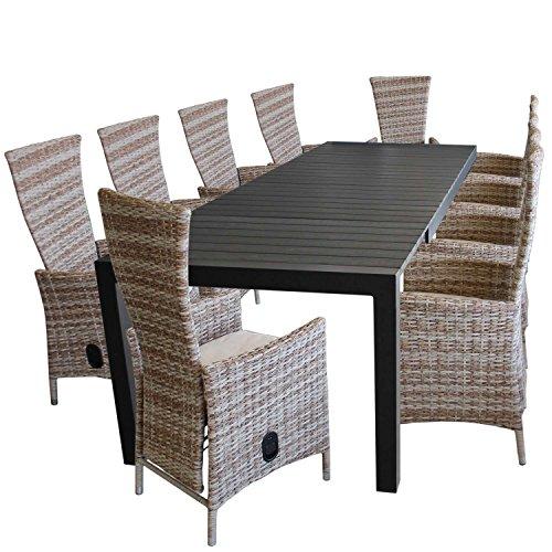 11 piezas. Juego de muebles de jardín de aluminio Polywood mesa extensible 224/284/344 x 100 cm + 10 sillas de jardín de polirratán con cojines, color natural