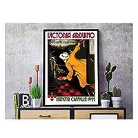 Suuyar カフェエスプレッソごとの有名な油絵ポスターVictoriaarduinoキャンバス絵画ポスターウォールアートプリントポスター写真家の装飾-50X70Cmフレームなし