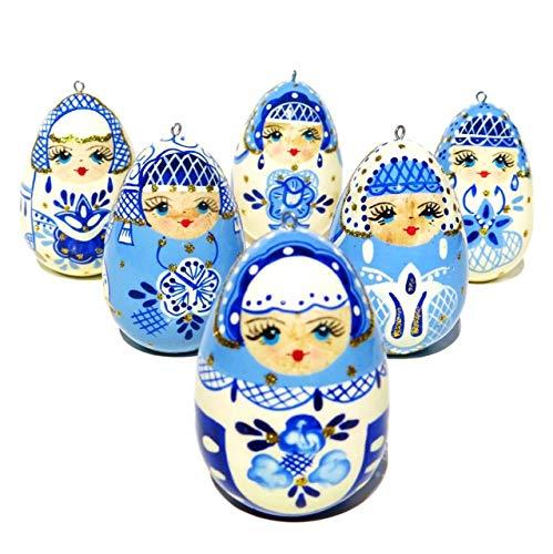 Babushka Russian Hand Painted Christmas Wooden Egg Ornament Set (Pack of 6)