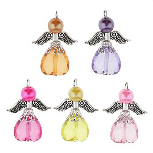 Sharplace Angel Charms Colgantes Cuentas de de Acrílico Facetadas en Forma de Collar Pendiente