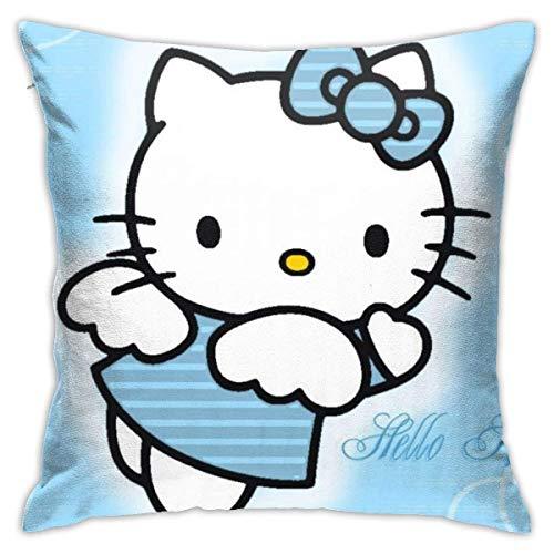 Lucky Home Hello Kitty dibujos animados Anime lindo gato azul fundas de cojín decorativas de algodón para salón sofá cama suave 45 x 45 cm