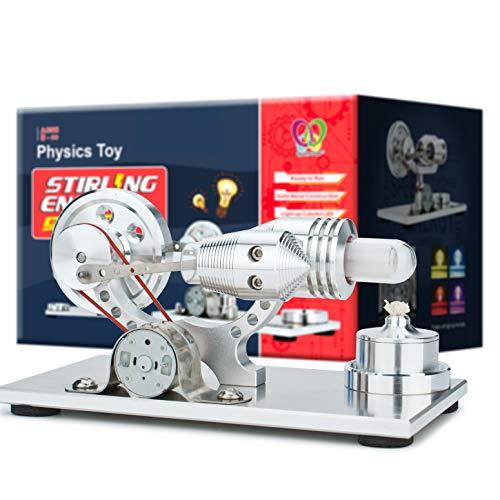 DjuiinoStar Hot Air Stirling Engine, Solid Metal Construction, Electricity Generator (Light up Colorful LED), My First Stirling Engine DHA-BG-401-PRO