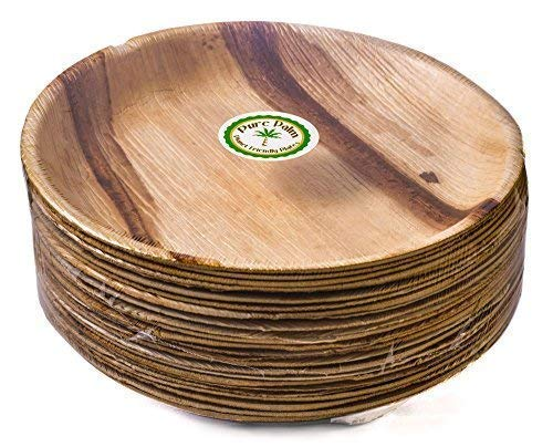 25 x Bamboo Plates, Disposable Palm Leaf Plates Takeaway [25cm Round, 25 pcs] Compostable Wood Biodegradable Eco Strong Wooden Party Plate, Parties with Plastic Paper Cutlery Bowls Cups Spoons Forks