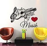 xlei Etiqueta De La Pared Música Guitarra Etiqueta De La Pared Negro Extraíble Arte Autoadhesivo Wallpaper Vinilo Nota Musical Tatuajes De Pared Decoración para El Hogar 59X74 Cm