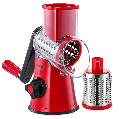 Geedel Rallador de queso giratorio de cocina con 2 cuchillas de tambor, rallador giratorio fácil de limpiar para frutas, verduras, nueces