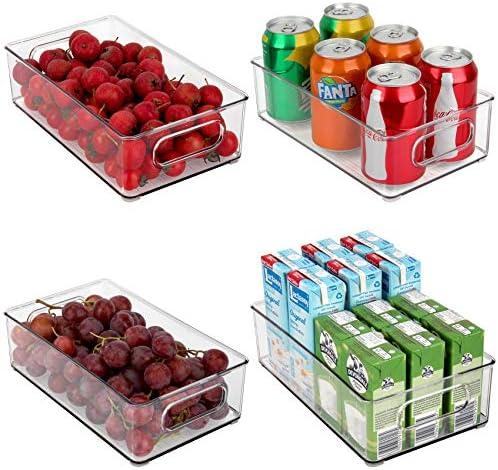 JuneHeart Refrigerator Organizer Bins Set of 4 Fridge Storage Bins with Handles for Freezer product image