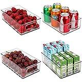 JuneHeart Refrigerator Organizer Bins, Set of 4 Fridge Storage Bins with Handles for Freezer, Kitchen, Countertop and Cabinets Pantry Food Storage-Clear Plastic Organizer Bins