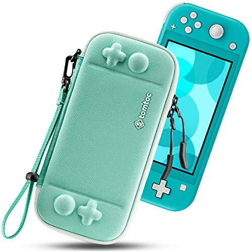 tomtoc Slim Carry Case for Nintendo Switch Lite, Protective Portable Carrying Cases with [Original Patent], Travel Storage Hard Shell with 8 Game Cartridges and Military Level Protection, Green