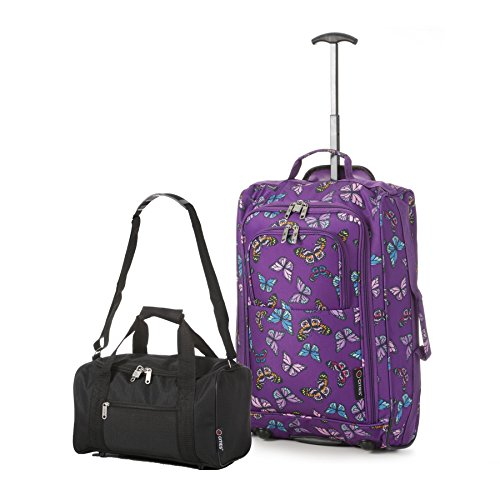 Ryanair Cabin 55x40x20 cm Approvato e seconda 35x20x20 bagaglio a mano Set - avanti entrambe le cose! (Nero / farfalle Navy)