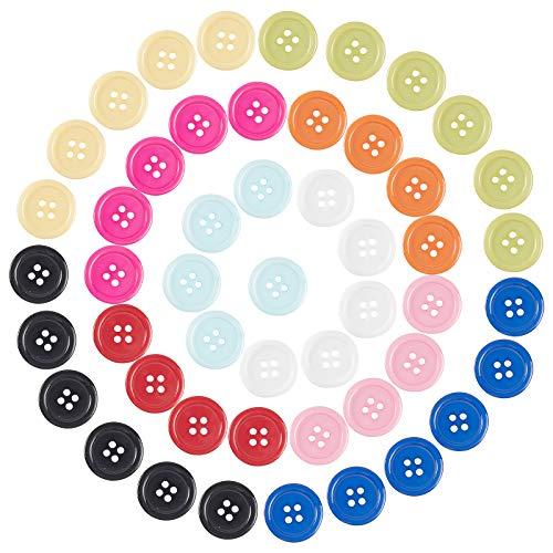 NBEADS 200 Stück Harzknöpfe, Nähknöpfe 4-Loch-Knöpfe 20 mm Runde Knöpfe Zum Nähen von Bastelarbeiten, Gemischte Farbe