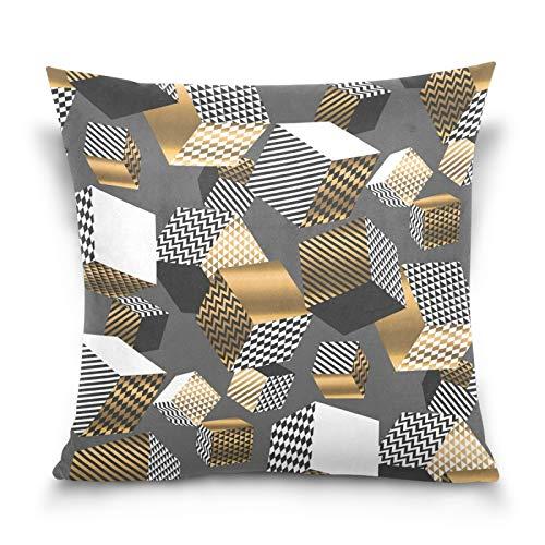 Ahomy Fundas de almohada decorativas 3D geométricas, cuadradas, fundas de cojín para sofá, coche, dormitorio, 50 x 50 cm