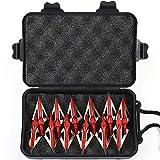 MEJOSER 12 x Pfeilspitzen Jagdspitzen Armbrust Bogen Alu mit 3 Klingen aus 430 Edelstahl mit Aufbewahrung (Rot)