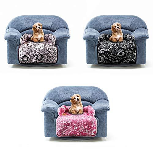 Multifunctionele huisdierbedden geschikt voor slaapbank/bed/auto/vloer/vloer etc, Dot Cat stoelhoes, katoenen bloemenprint Wasbare mat (70cm x 45cm), Zwart+wit
