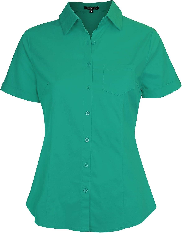 Michel Women's Slim Fit Button Down Shirt Basic Short Sleeve Blouse Shirts