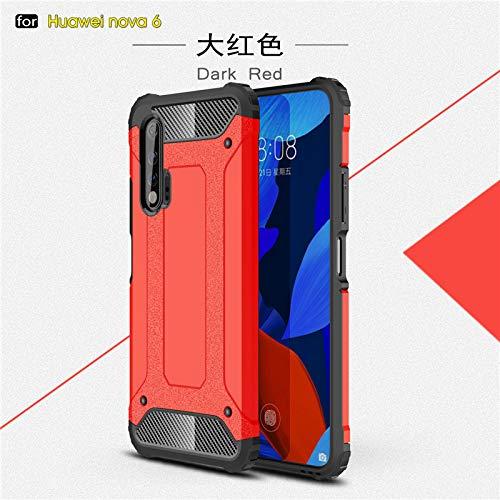 HHF Teléfono móvil Accesorios para Huawei Nova 6, Cubierta de Armadura de Doble Capa Anti-Golpe Suave Silicona + Caja de plástico Duro para Huawei Nova 6 5G 6.57'