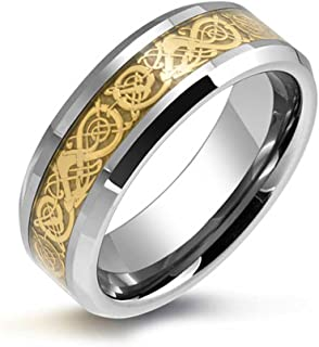 Bling Jewelry Golden Silver Two Tone Celtic Knot Dragon Inlay Couples Titanium Wedding Band RingsforMen for Women Comfort Fit 8MM