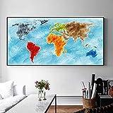 ganlanshu Pintura sin Marco Mapa Modular Colorido Pintura Carteles e Impresiones en la Sala Lienzo Arte de la Pared pinturaZGQ5029 30X60cm
