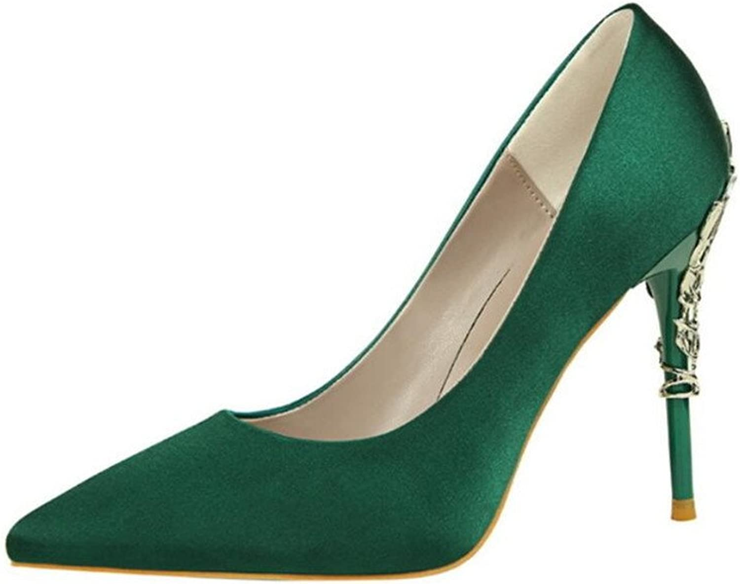 Pointed Toe Low Mid Kitten Heels Dress Court shoes Wedding Office shoes Satin Upper for Women Ladies Candy color Sandals,Green,EU40
