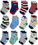 RATIVE Non Skid Anti Slip Crew Socks With Grips For Baby Toddlers Boys (6-12 Months, 12 Designs/RB-713915)