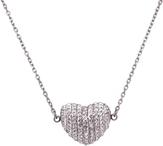 Bevilles Stainless Steel Pave Crystal Puff Heart Necklace