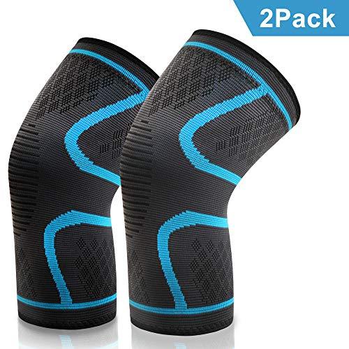 VIPFAN Kniebandage, Knieschoner Knieschützer 2 Pack für Laufen Walking Radfahren Fußball Basketball (L1, Blau)