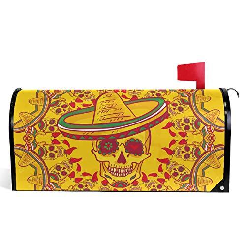 Oarencol mexikanischer Totenkopf Sombrero Cinco De Mayo Vinatge Tag der Toten Briefkasten, magnetisch, groß, für Garten, Hof, Heimdekoration, Übergröße 64,8 x 53,3 cm