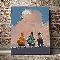 アニメポスター北欧背面図キャンバス絵画現代壁アート寝室の装飾のための写真を印刷家の装飾