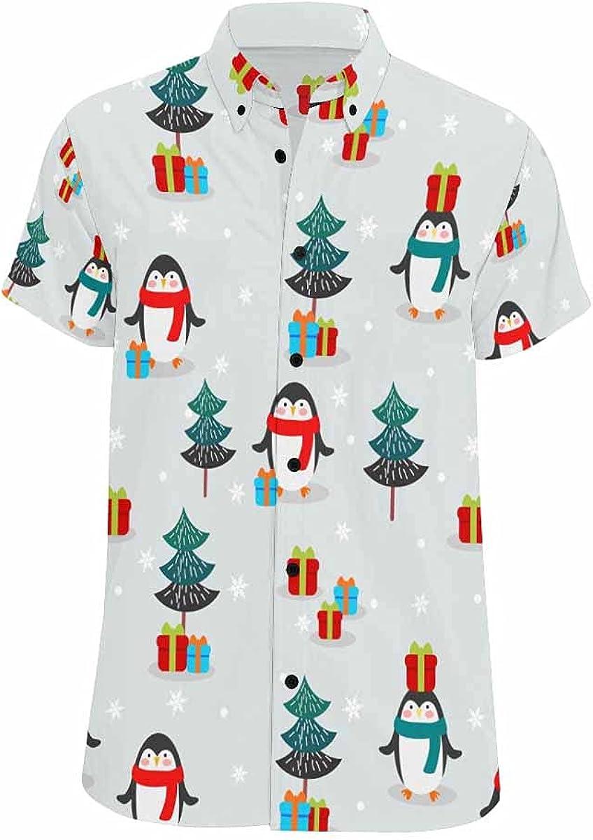 InterestPrint Penguins Washington Mall Button Down supreme Standard-Fit Summer Shirts Ca