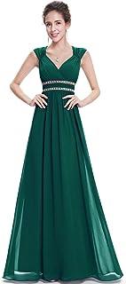 A-línea Vestido de Fiesta Gasa Cuello en V sin Mangas Largo para Mujer 08697
