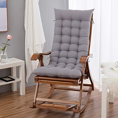 JYSSH Cojines para sillas mecedoras, Cojines rectangulares para tumbonas, Cojines para Asientos de sillas, cómodas Alfombrilla de Repuesto para sillas de jardín y Patio,Gray