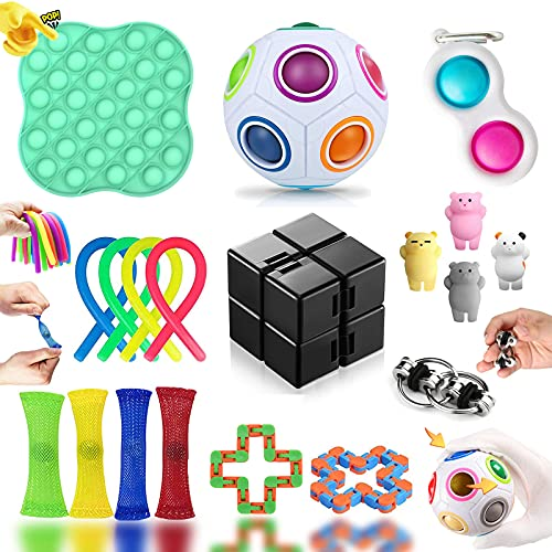 Fidget Toy Set, Fidget Toy Set Box für Kinder oder Erwachsene, Antistress Spielzeug Anxiety Toy für Stressabbau und Anti-Angst, Fidget Toys Pack für Geburtstagsfeier, Klassenbelohnungen (19 Stück)