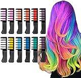 Magie Kamm-Haar-Kreide-Kamm, 12 Farben Temporary Waschbare Haarfarbe Pinsel-Set for Kinder, Jungen und Mädchen Haarfärbung, Party, Weihnachten und DIY (Size : 12 colors)