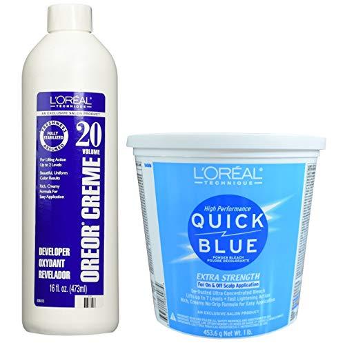 L'Oreal Technique Quick Blue Powder Bleach Extra Strength 1lb w/20 Volume Oreor Developer 16oz Bundle